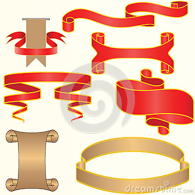 Set of red and silver vector ribbon