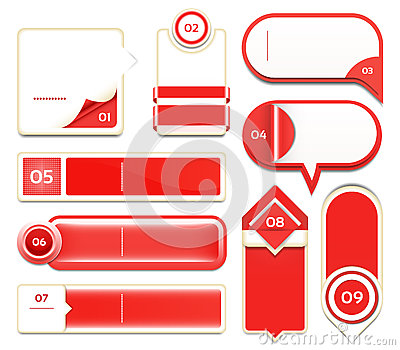 Set of red vector progress, version, step icons.