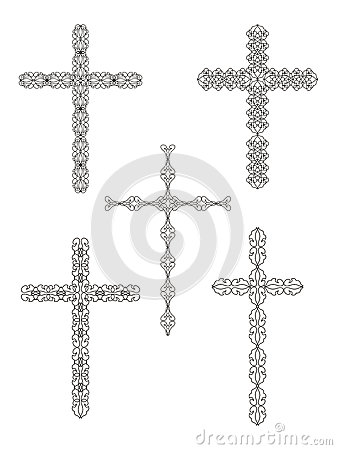 set of religious cross designs