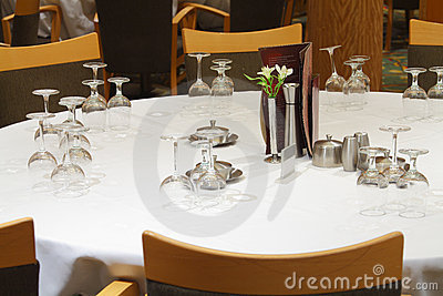 Set restaurant table with flowers