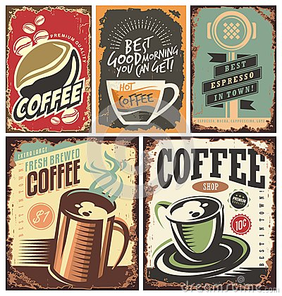 Set of retro coffee tin signs Vector Illustration