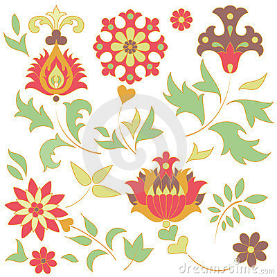 Set of retro flower elements