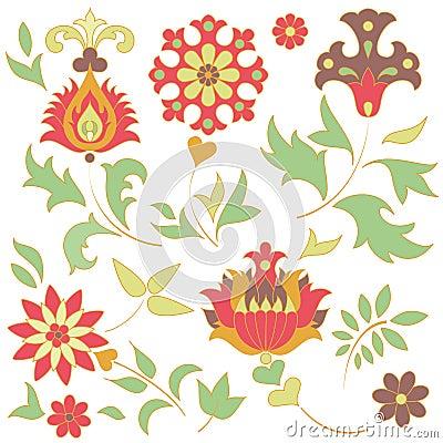 Set of retro flower elements
