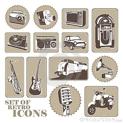 Set of retro icons.
