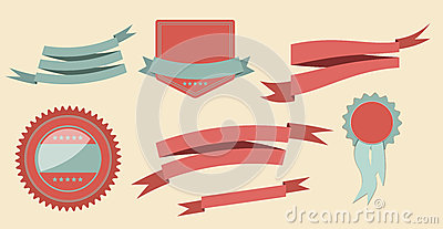 Set retro ribbons and label vector illustration