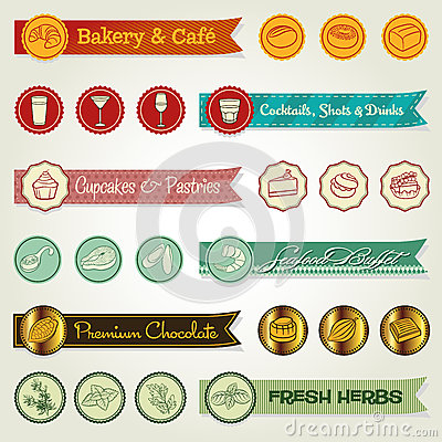 Set of ribbons & icons