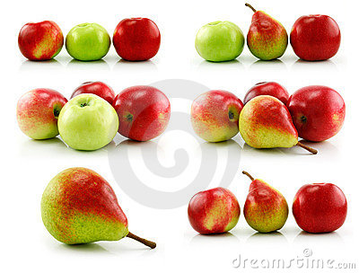 Set of Ripe Apples and Pear Isolated on White