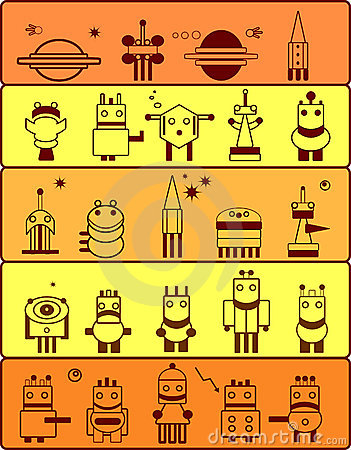Set of robots in cosmos