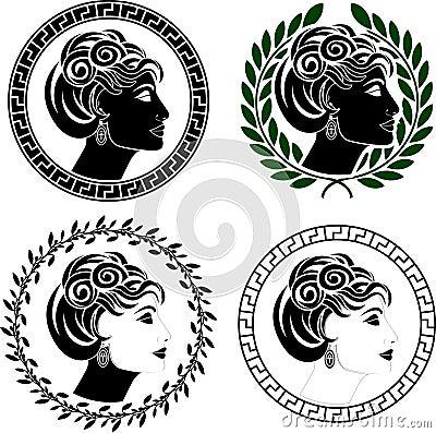 Set of roman woman profiles