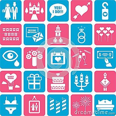 Set of romantic icons