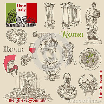 Set of Rome doodles