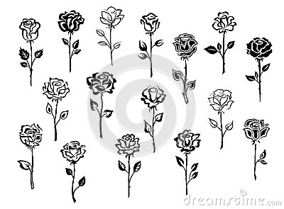 set of rose icons stock vector image 46609883. Black Bedroom Furniture Sets. Home Design Ideas