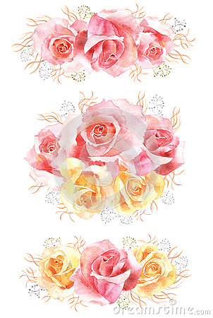 Set of rose watercolor flower bouquets Stock Photo