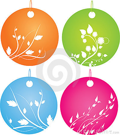 Set of round badges with floral ornament