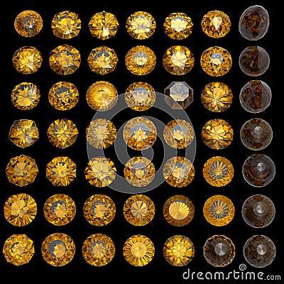 Set of round citrine