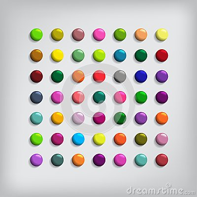 Set of Round Colorful Buttons