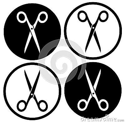 Free Set Round Scissors Icon Stock Photo - 40532440