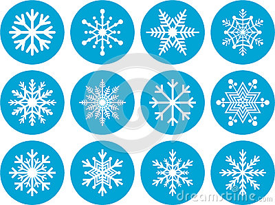 Set of Round Snowflake Icons