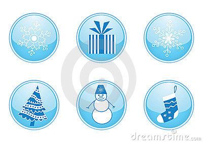 Set of round winter buttons