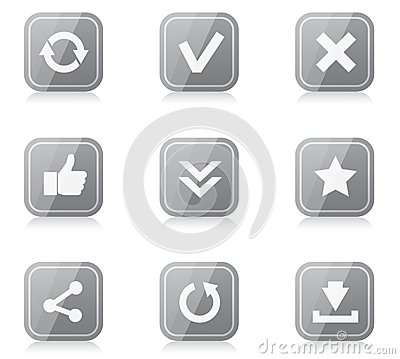 Set of rounded square internet icons with