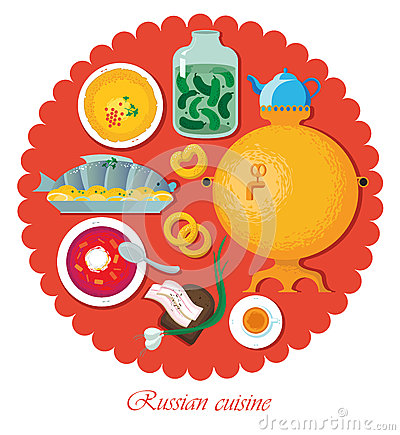 Set Russian national food. Illustration cuisine Vector Illustration