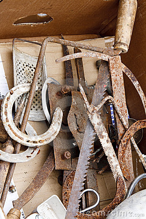 Set of rusty old tools