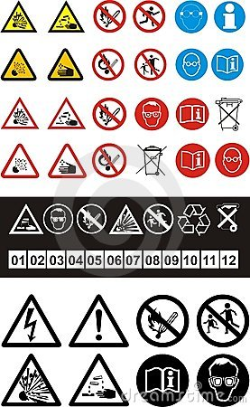 Set of safety symbols