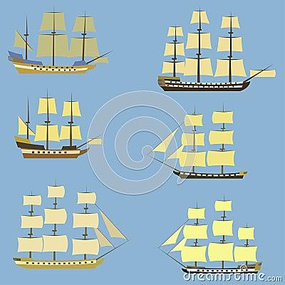 Set of sailing ships. Vector Illustration