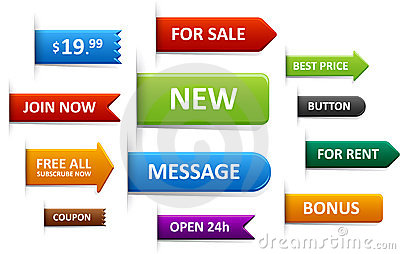 Set of sale labels, price tags, discount tags