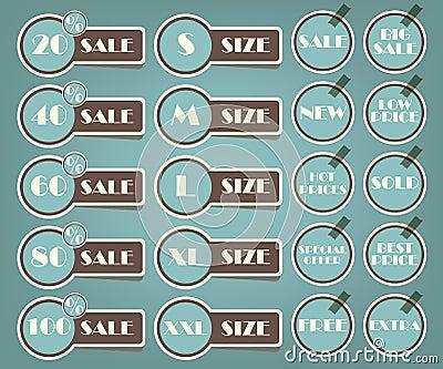 Set of sale labels retro illustration