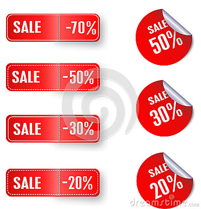 Set of sale red stickers