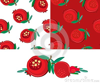 Set of samless pomegranatepatterns and isolated fruits