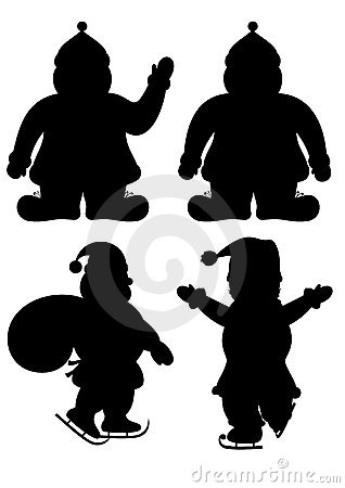 Set of Santa s silhouettes