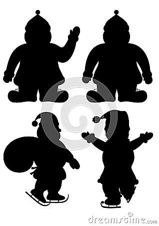 Set of Santa s silhouettes