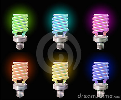 Set of save Lightbulb in colors