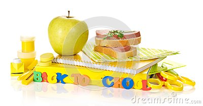 Set of school supplies, apple and sandwich