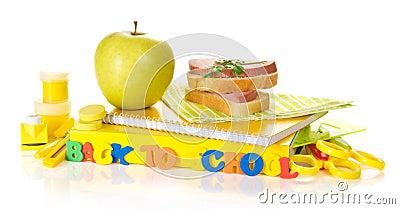 Set of school supplies, apple and sandwich