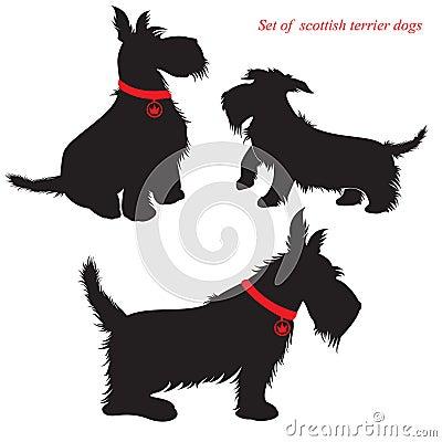 Set of scottish terrier dogs