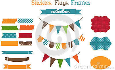 Set of scrap-booking bright stickies,flags and fra