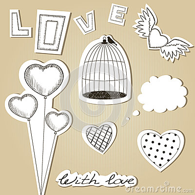 Set of scrap Valentines Day design elements