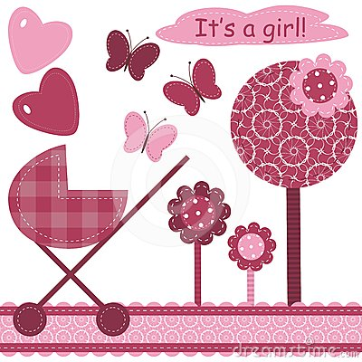 Set with scrapbook object for newborn girl