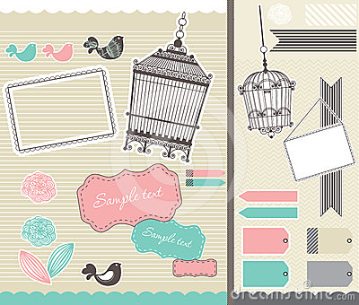 Set for scrapbooking with birdcage and frames
