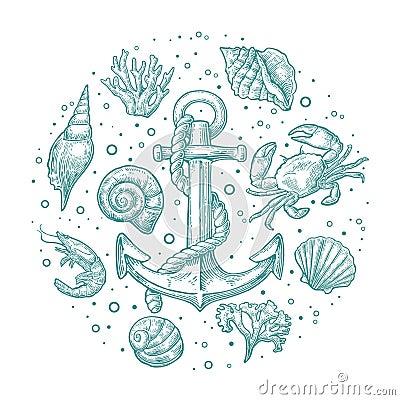 Free Set Sea Shell, Coral, Crab, Shrimp And Anchor. Royalty Free Stock Images - 74468669