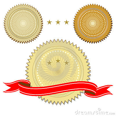 Set of seals with ribbon