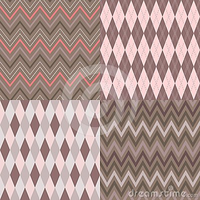 Set of seamless argyle and chevron patterns