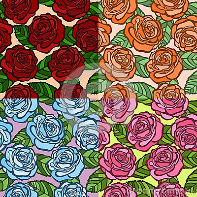 Set of seamless background.  roses with green leaves in the old style.