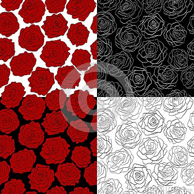 A set of seamless backgrounds. The outline of a ro