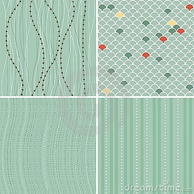 Set of seamless backgrounds in retro blue(vector)