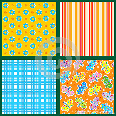 Seamless patterns or backgrounds set - floral, plaid, striped, butterflies