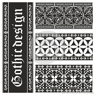 Set of seamless black-and-white gothic ornaments
